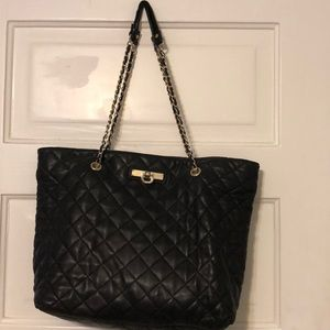 DKNY quilted leather tote with gold hardware